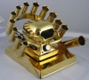 RAINBOW DEAL STAND/STOVE/10 IRONS - GOLD COLLECTOR SERIES INCLUDES GOLD PLATED STOVE STAND AND 10 CURLING IRONS